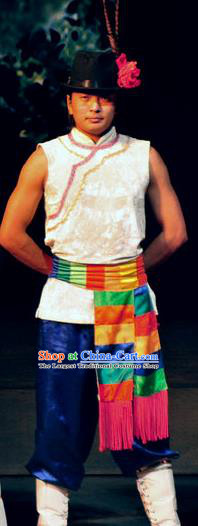 Chinese Lishui Jinsha Yi Nationality Dance White Clothing Ethnic Stage Performance Costume for Men