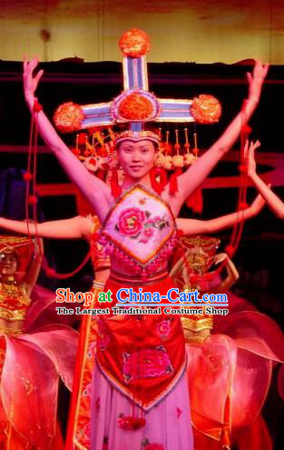 Chinese Lishui Jinsha Zhuang Nationality Dance Dress Ethnic Stage Performance Costume and Headpiece for Women