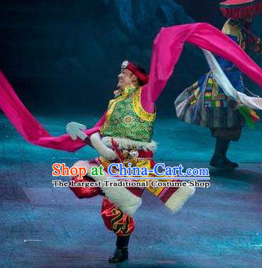 Chinese Encounter Shangri La Impression Tibetan Ethnic Dance Green Robe Stage Performance Costume for Men