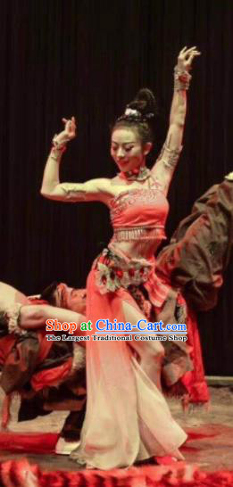 Chinese Encounter Shangri La Impression Classical Dance Dress Stage Performance Costume and Headpiece for Women