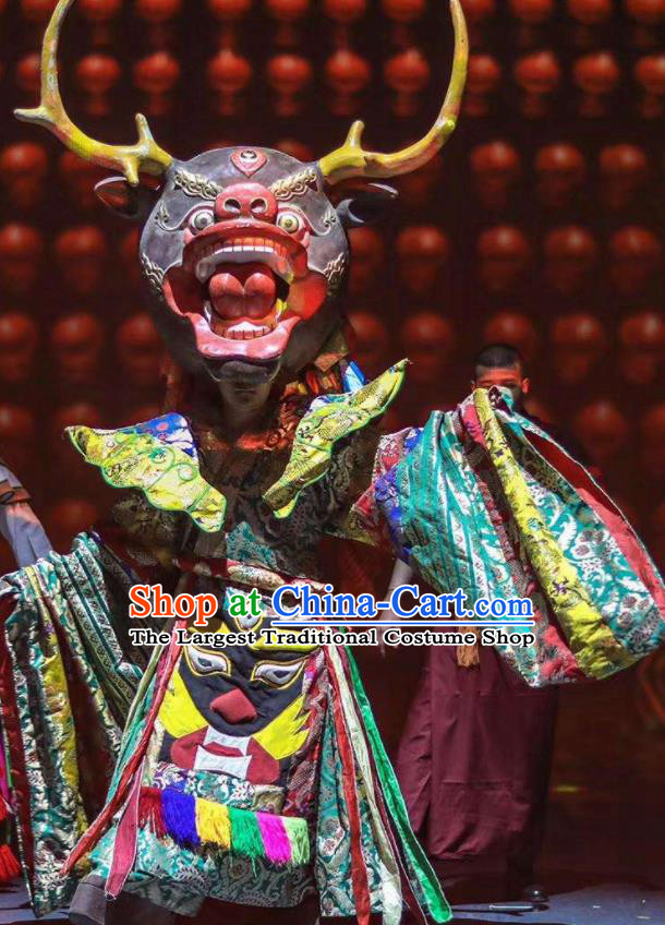 Chinese Encounter Shangri La Impression Tibetan Ethnic Sacrifice Dance Robe Stage Performance Costume for Men