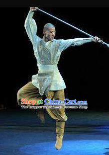 Chinese the Legends of Kung Fu Dance Monk Clothing Stage Performance Costume for Men