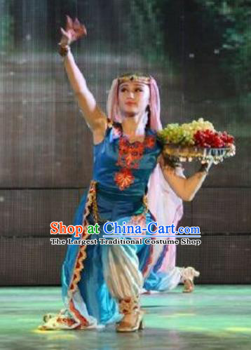 Chinese Turpan Festival Uyghur Nationality Folk Dance Blue Dress Stage Performance Ethnic Costume and Headpiece for Women