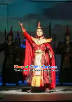 Chinese Shapotou Celebration Han Dynasty Emperor Clothing Stage Performance Dance Costume for Men