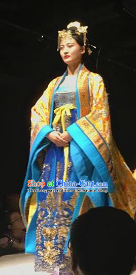Chinese Encore Dunhuang Tang Dynasty Court Dance Golden Dress Stage Performance Costume and Headpiece for Women