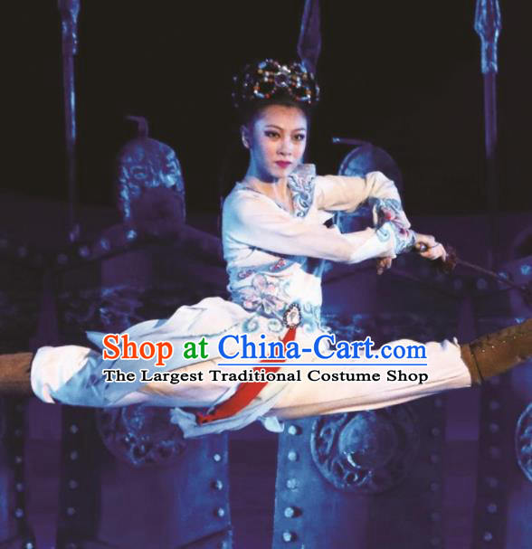 Chinese Encore Dunhuang Classical Swords Dance Dress Stage Performance Costume and Headpiece for Women