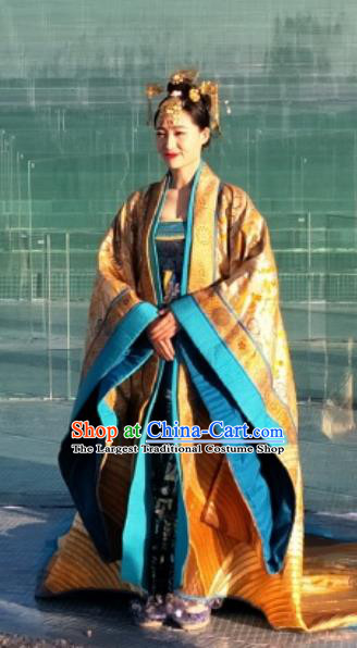 Chinese Encore Dunhuang Han Dynasty Queen Dance Dress Stage Performance Costume and Headpiece for Women