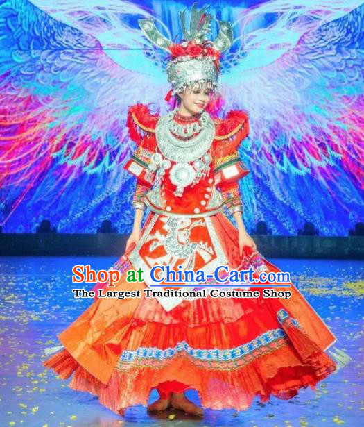 Chinese Jin Show Dan Zhai Miao Nationality Dance Wedding Red Dress Stage Performance Costume and Headpiece for Women