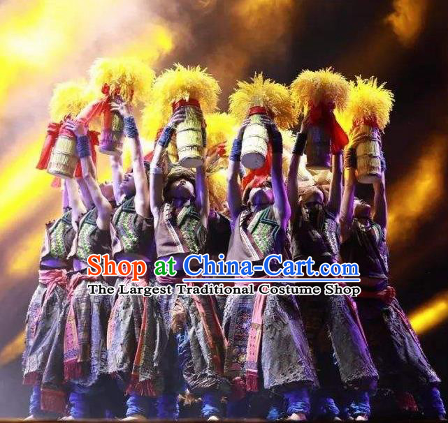 Chinese Jin Show Dan Zhai Miao Nationality Hero Dance Clothing Stage Performance Costume for Men