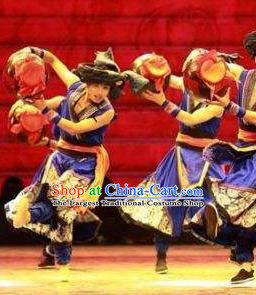 Chinese Jin Show Dan Zhai Miao Nationality Folk Dance Clothing Stage Performance Costume for Men