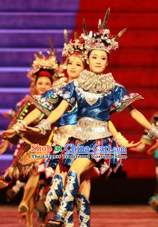 Chinese Jin Show Dan Zhai Miao Nationality Blue Dress Stage Performance Dance Costume and Headpiece for Women