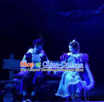 Chinese The Myth Of Snow Mountain Ethnic Wedding Stage Performance Dance Costumes for Women for Men