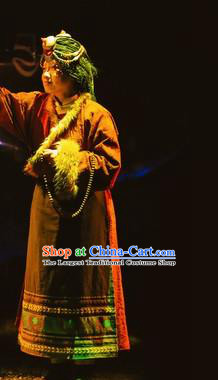 Chinese Encounter Lijiang Tibetan Ethnic Dance Dress Stage Performance Costume and Headpiece for Women