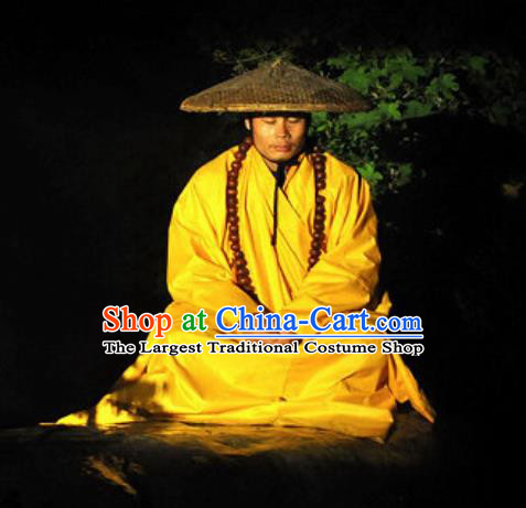 Chinese Shaolin Zen Music Ritual Monk Stage Performance Costume for Men