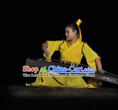 Chinese Shaolin Zen Music Ritual Folk Dance Yellow Dress Stage Performance Costume for Women