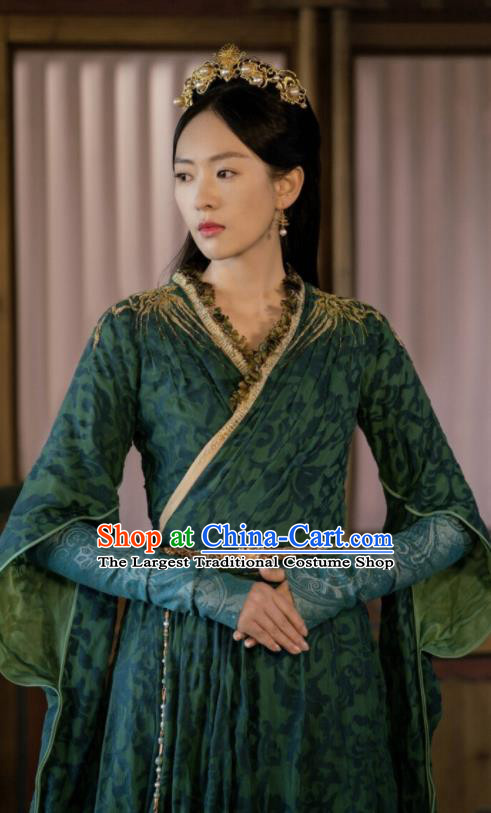 Ever Night Chinese Drama Ancient Tang Dynasty Royal Princess Li Yu Green Costumes for Women