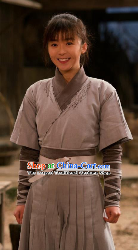 Ever Night Chinese Drama Ancient Tang Dynasty Female Civilian Sang Sang Grey Costumes for Women