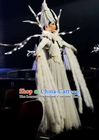 Chinese Picturesque Huizhou Classical Dance White Dress Stage Performance Costume and Headpiece for Women
