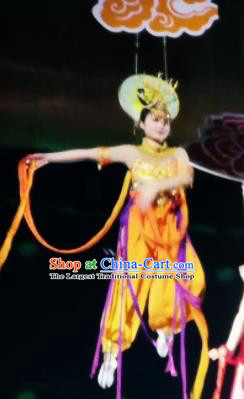 Chinese Picturesque Huizhou Opera Classical Dance Peri Orange Dress Stage Performance Costume and Headpiece for Women