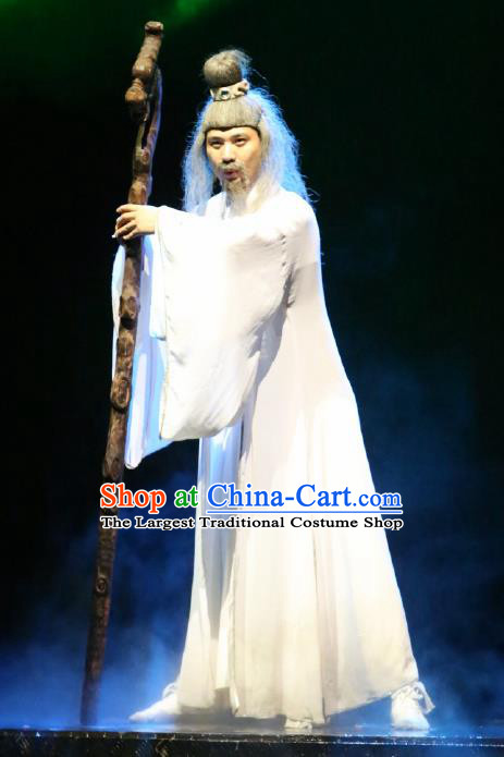 Chinese Picturesque Huizhou Opera Ancient Earth God White Clothing Stage Performance Dance Costume for Men