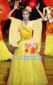 Chinese Picturesque Huizhou Classical Dance Yellow Dress Stage Performance Costume and Headpiece for Women