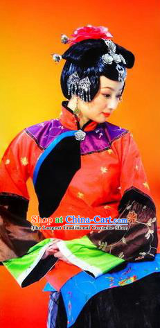 Chinese Picturesque Huizhou Fan Dance Red Dress Stage Performance Costume and Headpiece for Women