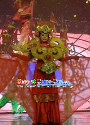 Chinese Picturesque Huizhou Classical Dance Red Dress Stage Performance Costume and Headpiece for Women
