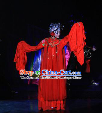 Chinese Picturesque Huizhou Opera Bride Dance Red Dress Stage Performance Costume and Headpiece for Women