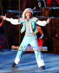 Chinese Phoenix Timeless Love Tujia Nationality Blue Clothing Stage Performance Dance Costume for Men