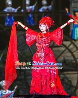 Chinese Phoenix Timeless Love Miao Nationality Dance Wedding Red Dress Stage Performance Costume and Headpiece for Women