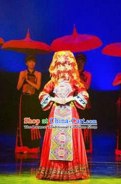 Chinese Charm Xiangxi Tujia Nationality Dance Wedding Red Dress Stage Performance Costume and Headpiece for Women