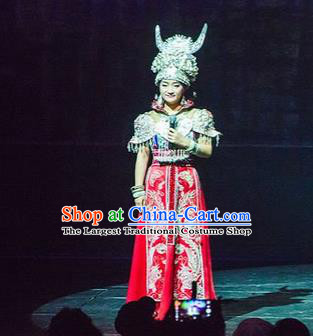 Chinese Charm Xiangxi Miao Nationality Dance Red Dress Stage Performance Costume and Headpiece for Women