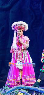Chinese Charm Xiangxi Tujia Nationality Dance Rosy Dress Stage Performance Costume and Headpiece for Women