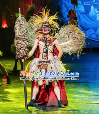 Chinese Charm Xiangxi Tujia Nationality Tribal Chief Clothing Stage Performance Dance Costume for Men