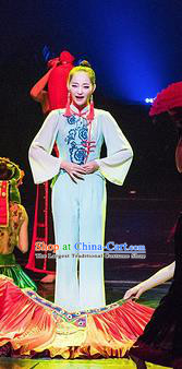 Chinese Charm Xiangxi Nationality Dance Dress Stage Performance Costume and Headpiece for Women