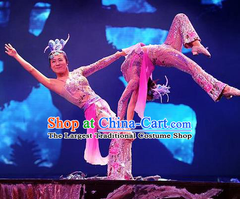 Chinese Charm Xiangxi Nationality Dance Dress Acrobatics Stage Performance Costume and Headpiece for Women