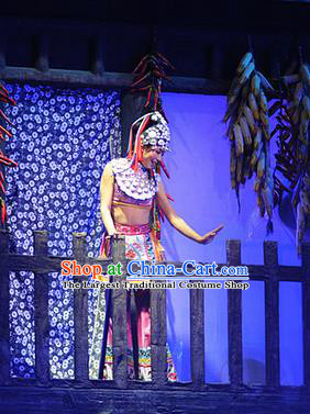 Chinese Charm Xiangxi Tujia Nationality Dance Dress Stage Performance Costume and Headpiece for Women