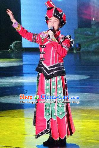 Chinese Charm Xiangxi Tujia Nationality Bridegroom Red Clothing Stage Performance Dance Costume for Men