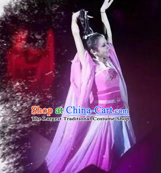 Chinese Dream Of Tao Classical Dance Rosy Dress Stage Performance Costume and Headpiece for Women