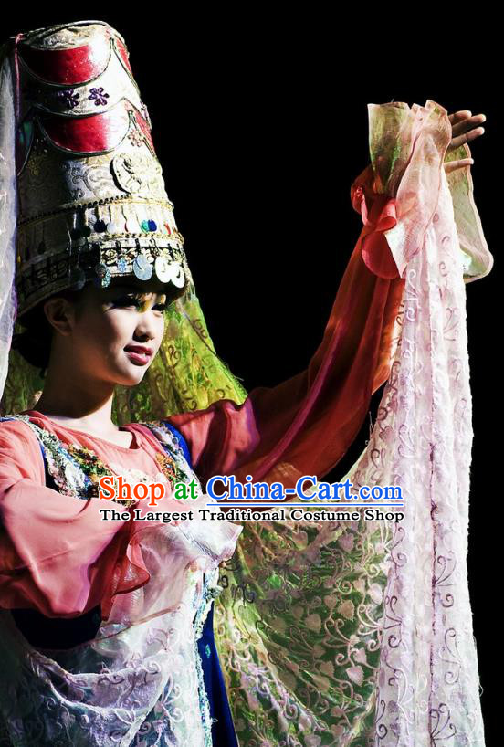 Chinese Oriental Apparel Xibe Nationality Dance Dress Stage Performance Ethnic Costume and Headpiece for Women