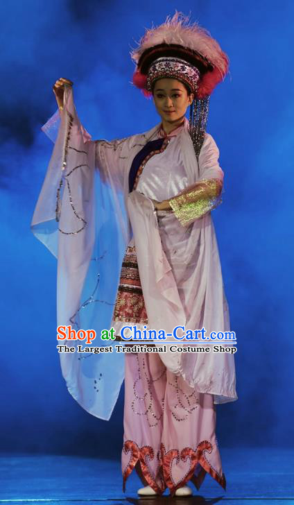 Chinese Oriental Apparel Hezhen Nationality Dance Dress Stage Performance Ethnic Costume and Headpiece for Women