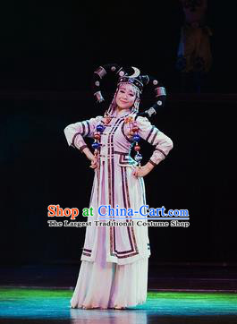 Chinese Oriental Apparel Mongol Nationality Dance White Dress Stage Performance Ethnic Costume and Headpiece for Women