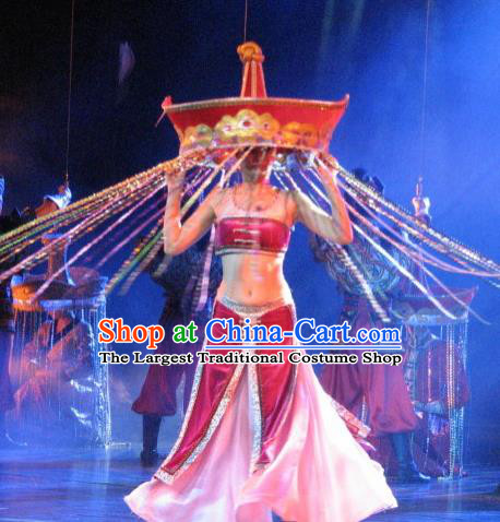 Chinese Oriental Apparel Dai Nationality Dance Rosy Dress Stage Performance Ethnic Costume and Headpiece for Women