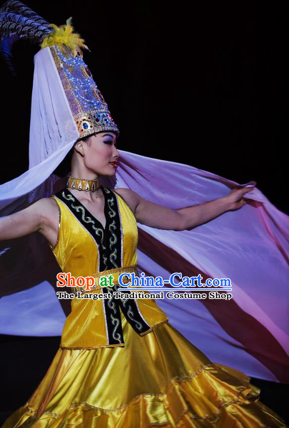 Chinese Oriental Apparel Khalkhas Nationality Dance Yellow Dress Stage Performance Ethnic Costume and Headpiece for Women