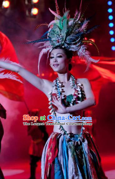 Chinese Oriental Apparel Classical Dance Feather Dress Stage Performance Ethnic Costume and Headpiece for Women