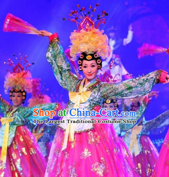 Chinese Oriental Apparel Korean Nationality Dance Rosy Dress Stage Performance Costume and Headpiece for Women