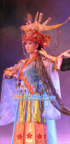 Chinese Oriental Apparel Dong Nationality Dance Blue Dress Stage Performance Costume and Headpiece for Women