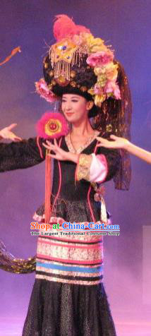 Chinese Oriental Apparel Qiang Nationality Dance Black Dress Stage Performance Costume and Headpiece for Women