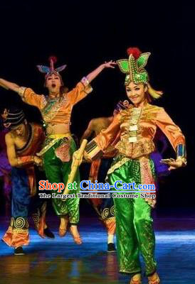 Chinese Oriental Apparel Nationality Dance Dress Stage Performance Costume and Headpiece for Women
