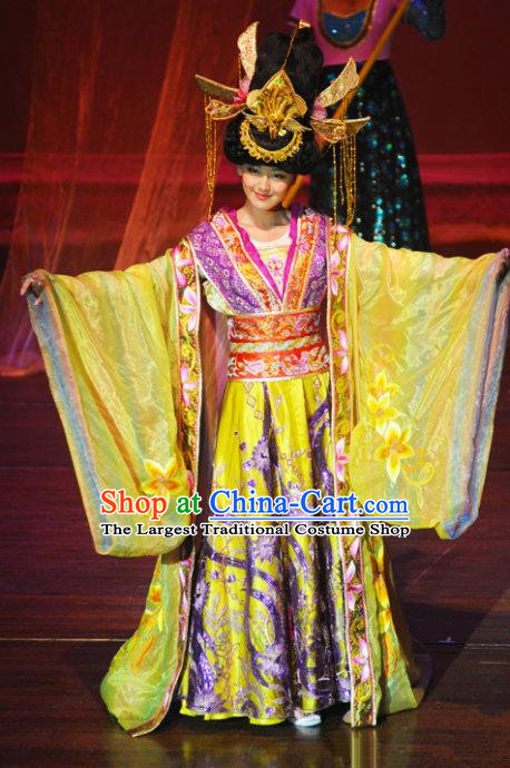 Chinese Oriental Apparel Court Queen Classical Dance Yellow Dress Stage Performance Costume and Headpiece for Women
